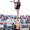 Midland Trail's Cheerleader Kyleigh Jackson is flying high at Friday nights game against the Oak Hill Red Devils.  Her base team is made up of  Ryleigh Jackson, Kaitlyn Haynes, and Karisma Burdette.<br /> Submitted photo by Sarah Garland