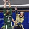 (Brad Davis/The Register-Herald) Greenbrier West's Kenley Posten spikes the ball against Paden City during State Volleyball Tournament action Friday afternoon at the Charleston Civic Center.