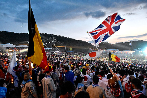 (Brad Davis/The Register-Herald) Scouts from all nations pack the stadium area as the World Scout Jamboree's Cultural Celebration commences Friday night at the Bechtel Summit Reserve.