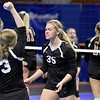 (Brad Davis/The Register-Herald) Greater Beckley Christian players react to scoring a point against Wirt County during State Volleyball Tournament action Friday morning at the Charleston Civic Center.