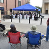 (Brad Davis/The Register-Herald) A small crowd gathers to watch New River Jazz perform during the Appalachian Fest Block Party August 24 in Beckley.