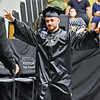(Brad Davis/The Register-Herald) Graduating Westside senior Colby Vargas reacts as he takes the stage to collect his diploma during the school's Commencement Ceremony Saturday afternoon in Clear Fork.