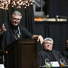 West Virginia University men's basketball head coach Bob Huggins introduces the recipients of the 32nd Annual Spirit of Beckley Award Greg Darby and Cory Beasley, co-owners of Little General Stores, at the Beckley-Raleigh County Convention Center in Beckley on Monday. (Chris Jackson/The Register-Herald)