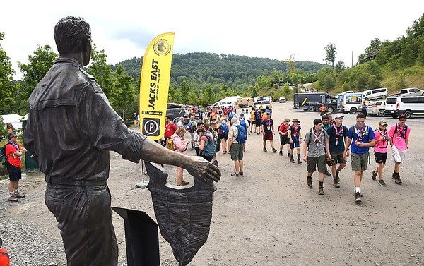 Scouts heading to different activities during the World Scout Jamboree at the Summit Bechtel Reserve in Glen Jean.<br /> (Rick Barbero/The Register-Herald)