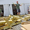 (Brad Davis/The Register-Herald) Dutch scout Kilian Heuvel is proud to show off his efficiency in breaking down tents and other structures during the last day of World Scout Jamboree activities Thursday afternoon at the Summit Bechtel Reserve.