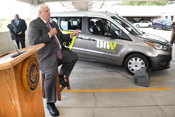 Gov. Jim Justice handed over the keys to four brand new veteran transportation vans during a ceremony held on the third floor at the Beckley VA Medical Center. The vans were provided by the state and will be operated by the Disabled American Veterans Organization. <br /> (Rick Barbero/The Register-Herald)