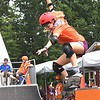 Sophia Cook, makes a jump at the Action Point Skate during the World Scout Jamboree held at the Summit Bechtel Reserve in Glen Jean.<br /> (Rick Barbero/The Register-Herald)