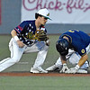 (Brad Davis/The Register-Herald) Lafayette baserunner Braedon Blackford is safe at 2nd on a steal well before the throw gets to Miners shortstop Zach Bondurant Saturday night at Linda K. Epling Stadium.