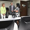 Senator Shelly Moore Capito, left and ARC Co-Chair Tim Thomas, speak with WV HIVE director Judy Moore during a tour  of the HIVE network, an entrepreneurial support network serving locations in Beckley, Summersville, Lewisburg, and Hinton.<br /> (Rick Barbero/The Register-Herald)