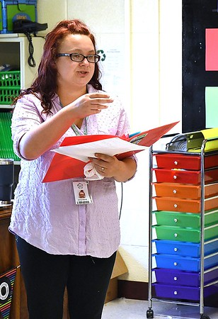 Crescent Elementary School first grade teacher Kayla Boyd instructing her class.<br /> (Rick Barbero/The Register-Herald)