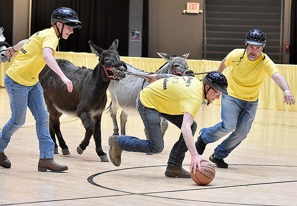 """(Brad Davis/The Register-Herald) What the """"tip-off"""" looks like during a donkey basketball tournament to benefit the Raleigh County Horseman's Association Sunday afternoon at the Beckley-Raleigh County Convention Center. The rules are simple, as it's basically standard basketball, but you must be on your donkey when taking a shot. You can dismount to pick up a loose ball or move around the court quicker, but you must have your donkey in tow at all times when not riding it. RCHA hopes to have a few more of these events in the future."""