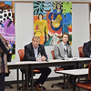 Esther Morey, the executive director of Coda Mountain Academy, speaks to the board of delegates and senators during a town hall meeting on education at Oak Hill High School in Oak Hill. (Chris Jackson/The Register-Herald)