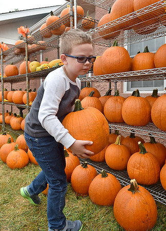 (Brad Davis/The Register-Herald) Young Beckley resident Mason Stewart chooses his pumpkin and hauls it away during Burlington United Methodist Family Services' annual Pumpkin Harvest Festival Sunday afternoon.
