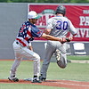 (Brad Davis/The Register-Herald) Miners 1st baseman Michael Pineiro can't swing around in time to place the tag on the back of passing Champion City baserunner Bo Seccombe, who beats the throw for an infield single during he Miners' 10-2 loss to the Kings Sunday afternoon at Linda K. Epling Stadium.