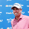 Robby Shelton speaks to the media after finishing -8 during the first round of golf of A Military Tribute at The Greenbrier in White Sulphur Springs on Thursday.  Shelton finished in the lead. (Chris Jackson/The Register-Herald)