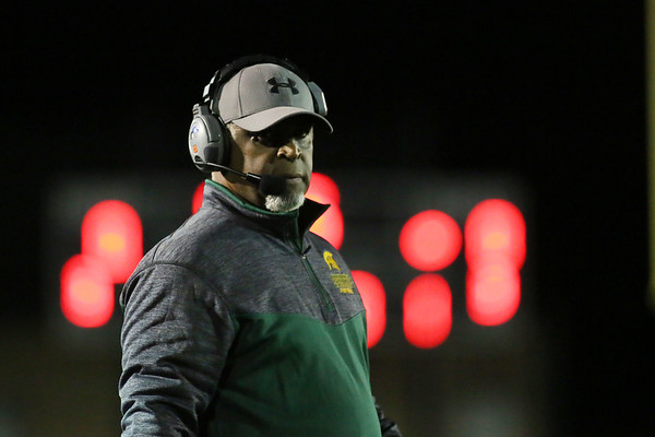 Greenbrier East head coach Ray Lee during their Class AAA playoff game in Fairlea on Friday. (Chris Jackson/The Register-Herald)