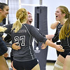 (Brad Davis/The Register-Herald) Independence players celebrate after defeating PikeView to clinch a spot in next weekend's State Volleyball Tournament during the Class AA Region 3 championship tournament Saturday afternoon in Shady Spring.