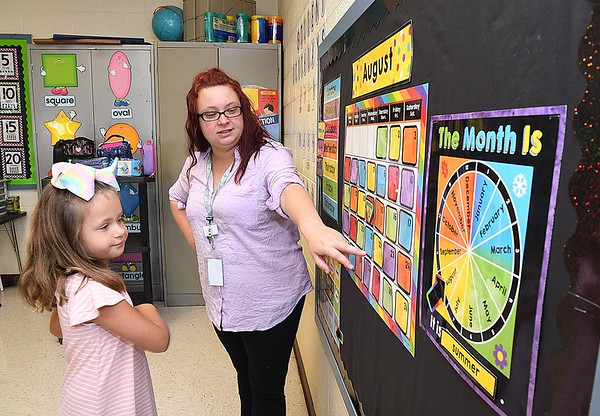 Crescent Elementary School first grade teacher Kayla Boyd helps her student Harper Hedinger give the weather re