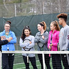 Woodrow Wilson tennis coach Bernie Bostick speaks with some of his team members during practice in Beckley on Thursday. (Chris Jackson/The Register-Herald)