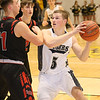 (Brad Davis/The Register-Herald) Shady Spring's Stephen Williams gets into the paint as Liberty's Ethan Hill defends Wednesday night in Shady Spring.