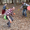 (Brad Davis/The Register-Herald) Combatants of all ages scramble in search of cover and targets as they participate in a Nerf War at Lake Stephens Saturday afternoon. The free event, another in a line of fun, physical activities presented by Active Southern West Virginia, pits two teams of warriors against each other in capture the flag-style games, using the famous foam armaments of all types, from guns and pistols to axes, swords and shields, all provided by ASWV. Keep an eye on their Facebook page and website for upcoming events including more Nerf Wars, which have been a huge hit so far.