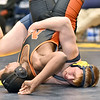 (Brad Davis/The Register-Herald) Shady Spring's Joe Dye, right, takes on Martinsburg's Kamaury Forrester in a 182-pound weight class matchup during the Appalachian Fasteners Invitiational Saturday afternoon in Shady Spring. Shady's Dye won the match.