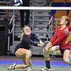 (Brad Davis/The Register-Herald) Independence's Kylie Nelson, left, and Kyra Davis scramble to return an Oak Glen spike during State Volleyball Tournament action Friday morning at the Charleston Civic Center.