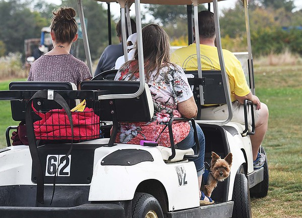 Spectators watching play on the 9th hole during the Class AA Region 3 championships held on Grandview Country Club.<br /> (Rick Barbero/The Register-Herald)
