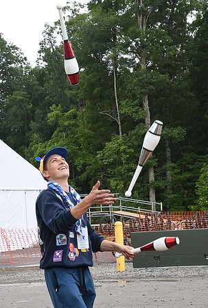 Salvatore Niels, learning how to juggle during the World Scout Jamboree at the Summit Bechtel Reserve in Glen Jean.