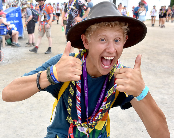 (Brad Davis/The Register-Herald) Swedish scout Charlie Fernryd can't resist strining a pose as he notices the camera during the last day of World Scout Jamboree activities Thursday afternoon at the Summit Bechtel Reserve.
