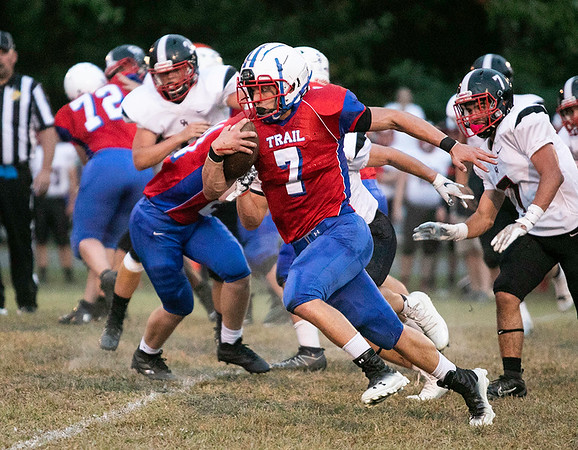 Midland Trail quarterback Colton Yoder breaks away from the pack.<br /> Submitted photo by Sarah Garland