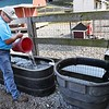 Tim Martin, owner Old Mill Farm off of Old Mill Road in Beckley, fills his troughs with buckets of water because lack of rain. Under normal conditions the troughs are fill from rain water running from gutters off his barn. <br /> (Rick Barbero/The Register-Herald)