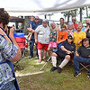 (Brad Davis/The Register-Herald) Mary Lilly, far left, gathers the contingent from the Roy and Hazel Lilly family line (Daniels) Saturday during the 90th Annual Lilly Reunion.