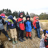Crescent Elementary pre-school students walking on bales of hay at the Okes Family Farm in Cool Ridge.<br /> (Rick Barbero/The Register-Herald)