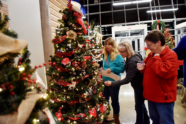 Laura Plumley, from left, from Shady Spring, Cathy Romage, from Mt. Hope, and Julie Miller, from Beckley, look at a Christmas tree during the 11th annual United Way of Southern West Virginia's Wonderland of Trees Auction at the J.W. And Hazel Ruby West Virginia Welcome Center in Mt. Hope on Friday. (Chris Jackson/The Register-Herald)
