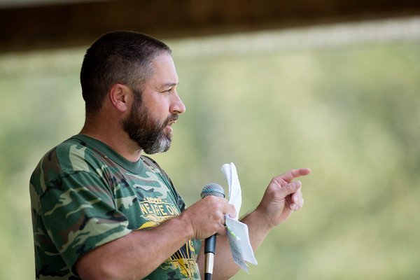 AFL-CIO President of West Virginia Josh Sword speaks during the annual UMWA Labor Day Celebration at John Slack Memorial Park in Racine on Monday. (Chris Jackson/The Register-Herald)