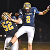 (Brad Davis/The Register-Herald) Shady Spring kicker Erick Bevil, right, and Stephen Crook celebrate a last-second field goal at the halftime break against Lincoln County Fridy night in Shday Spring.