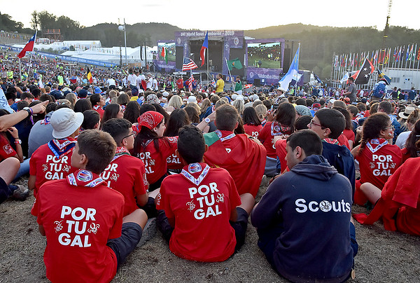 (Brad Davis/The Register-Herald) Scouts from Portugal await the start of festivities at the World Scout Jamboree's Cultural Celebration Friday night at the Bechtel Summit Reserve.