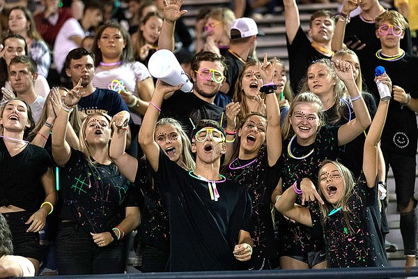 The Nicholas County student section gets into spirit for the game. Chad Foreman for the Register-Herald.