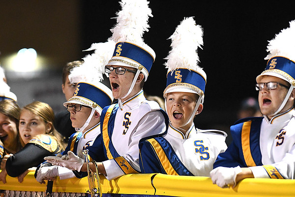 Shady Spring band members reacting after they introduced the senior member of the band before the start of the game against Braxton Co. at Shady Spring High School.<br /> (Rick Barbero/The Register-Herald)