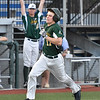 (Brad Davis/The Register-Herald) Baserunner Clayton Mehlbauer hustles around 3rd base to score on a single that turned into a three-base error after the ball got by Danville centerfielder Marcel Bachelier during the Miners' three run 4th inning Friday night at Linda K. Epling Stadium.