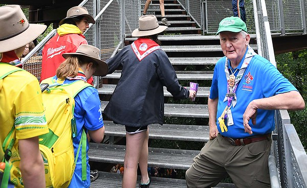Frank McAllister, directs scouts into the Sustainability Treehouse during the World Scout Jamboree at the Summit Bechtel Reserve in Glen Jean.<br /> (Rick Barbero/The Register-Herald)