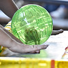 (Brad Davis/The Register-Herald) Participants tap the table in hopes of encouraging a hamster in a ball towards the finish line during the Kids Classic Hamster Races Sunday afternoon at the Youth Museum.