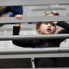 Ashlyn McClung, 5, from Rupert, watches her brother, Chase McClung, and two cousins, Collin and Riley O'Dell, that all play for Greenbrier West, play durign their basketball game against Fayetteville during the Big Atlantic Classic in Beckley on Monday. (Chris Jackson/The Register-Herald)