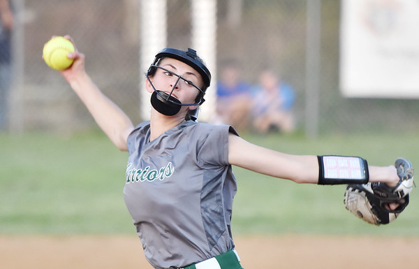 Wyoming East's Holly Brehm delivers a pitch during their Class AA, Region 3, Section 1 softball game against Independence in Coal City on Tuesday. (Chris Jackson/The Register-Herald)