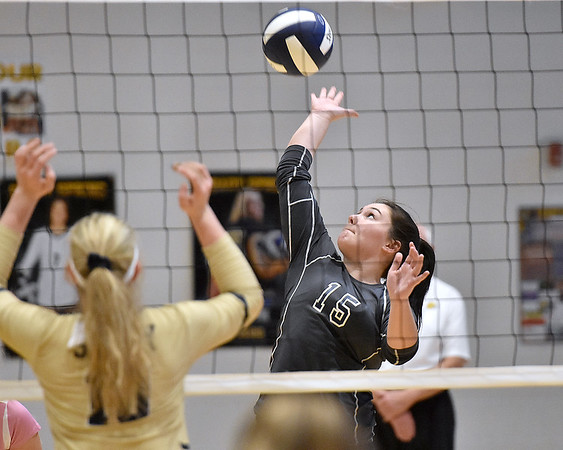 (Brad Davis/The Register-Herald) Independence's Harleigh Hall spikes the ball against Shady Spring during the Class AA Region 3 championship tournament Saturday afternoon in Shady Spring.