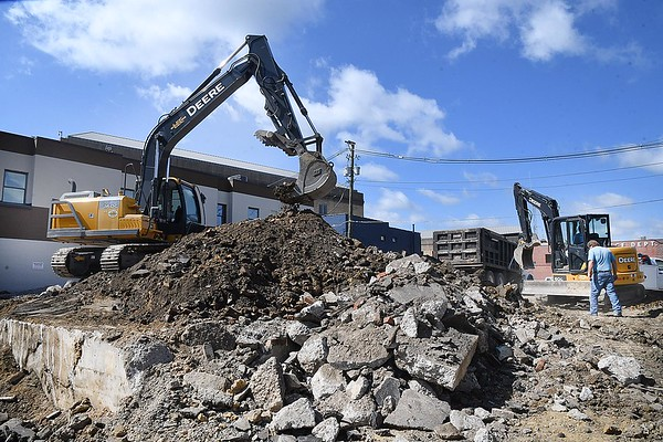 Raleigh County Commission reonovating their parking lot on Prince Street in Beckley. Shown is part of the foundation of the old jailhouse built in 1909.<br /> (Rick Barbero/The Register-Herald)