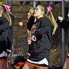 (Brad Davis/The Register-Herald) Summers County cheerleaders perform during a road game at Liberty Friday night in Glen Daniel.