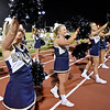(Brad Davis/The Register-Herald) Shady Spring cheerleaders perform on the sideline during their game against Lincoln County Friday night in Shady Spring.
