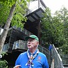 Frank McAllister, directs scouts into the Sustainability Treehouse during the World Scout Jamboree at the Summit Bechtel Reserve in Glen Jean.